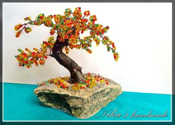 Beaded artificial tree tiny bonsai autumn japanese bonsai - Dessin bonzai ...