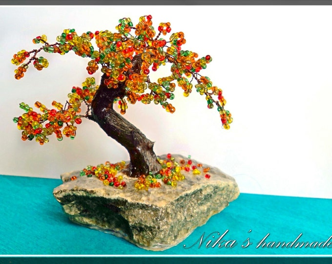 Beaded artificial tree tiny bonsai, autumn japanese bonsai, feng shui tree, wire sculpture, miniature tree