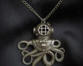"Steampunk ""Undersea Monstrosity"" Brass Dive Helmet Monster Necklace"