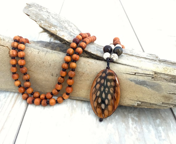 Bohemian Feather Necklace, Mala Necklace, Hippie Necklace, Feather Pendant, Boho Necklace, Hippie Necklace, Natural Jewelry