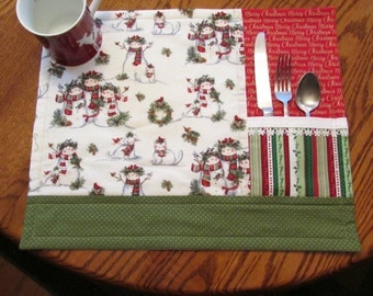 Beautiful Snowman Christmas Placemats set of 4