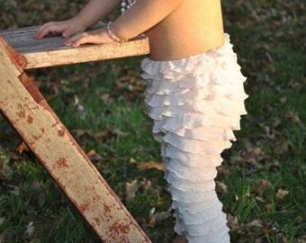 Little Girls Leggings Ruffle - Girls Ruffle Leggings, Toddler Ruffle Legging, Toddler Ruffle Pants