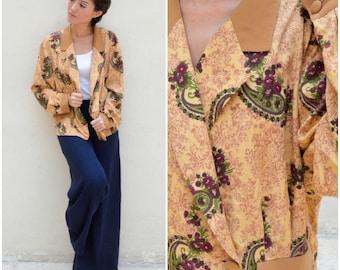 1970 Vintage Blazer/ Lavish Vintage Blazer/ Medium Blazer/ Large Blazer/ Paisley Blazer/ Brown Blazer/ Oversize Blazer/ Japanese Vintage