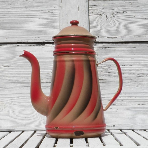 Rare French vintage pink coffeepot, vintage enamel cafetiere, pink enamelware, red enamelware, shabby chic, country home French kitchen