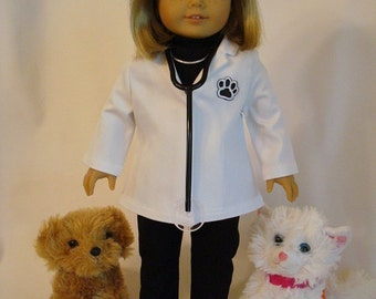 Veterinarian Lab Coat and Stethoscope Set for American Girl Doll and 18-inch Dolls - Bitty Twins Doll Vet Set with Optional Dog or Cat