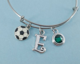 Soccer bangle bracelet in stainless steel personalized with your choice of initial.    Soccer jewelry.  Soccer Charm.  Soccer Bracelet.