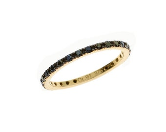 VERY BIG OFFER,  Gold Gemstones Band, 9k Gold Stacking Band, Full Round Band, Micro Pave Band Ring, Stackable Ring