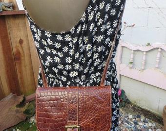 Furla Crossbody Bag Small Cognac Leather Purse Moc Croc Croco Embossed Satchel Handbag Tote Vintage 1980s
