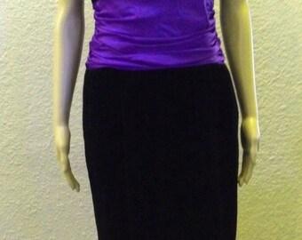 Therese Baumaire Paris France Black Velvet Purple Ruched Empire Waist Vintage Evening Dress Size 12