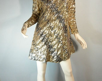 SALE Gold Sequin Disco Dress// Gogo Dress// Fancy 60s Mod Sequin Dress