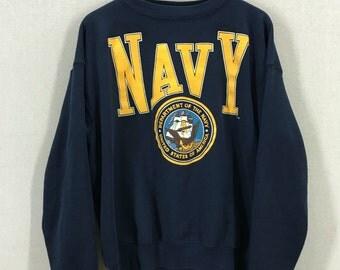 Vintage 90's USN Navy Spellout Crewneck Sweatshirt Size XL USA