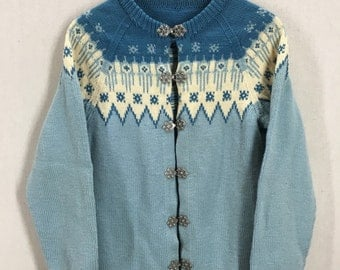 Vintage Nordic Wool Sweater with Incredible Pewter Clasps
