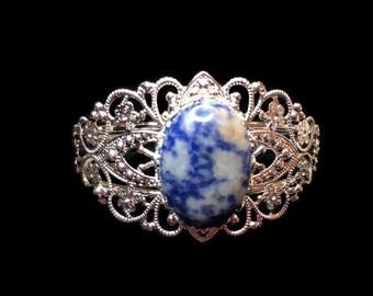 Silver Bangle Bracelet - Sodalite Stone Bracelet - Silver Bracelet - Cuff Bracelet - Cuff Jewerly - Blue Bangel Bracelet - Wedding Jewelry