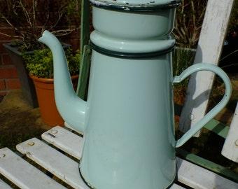 Vintage French Enamelware Coffee Pot in Light Green Enamel