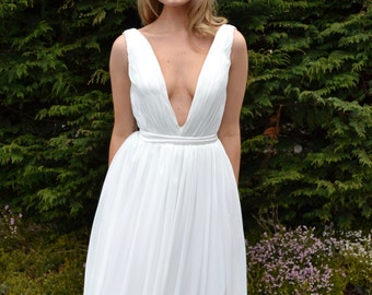 Ready to Wear 'Serena' plunging deep v long sleeve backless simple classic wedding formal bridal dress