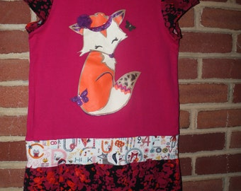 Upcycled Fox Dress, Girl's size 7 / 8