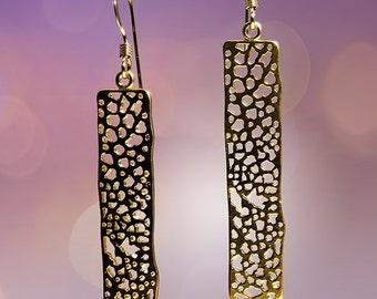 Satin Finish Gold Organic Textured Stick Earrings