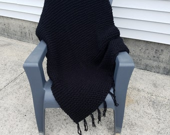 Hand Made Chunky Knit Throw/ Lap Blanket/ Afghan - Black