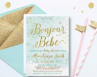 gold baby boy shower invitation,  French baby shower Invitation, Bonjour Bebe Shower Invitations, gold dots, Aqua, gold, turquoise, GO