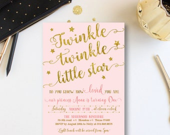 Twinkle Twinkle Birthday invitations, baby girl birthday invites, stars girl Birthday Invitation, Gold Stars, little star, Mo, GO, GL