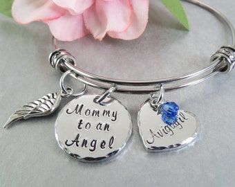 Mommy to an Angel - Personalized Memory Bracelet - Hand Stamped Personalized Bracelet - Bangle Bracelet - Hand Stamped Mothers Jewelry