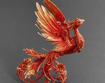 Firebird sculpture phoenix sculpture phoenix figurine phoenix statuette OOAK phoenix rising clay figurine clay statuette bird figurine