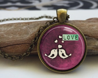 Valentine's Day Love Birds Necklace . Love necklace. Love art pendant jewelry. Pink Love Necklace