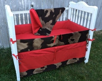 Red Western Crib Bedding/red Cowboy Crib Set/Cowhide Baby Bedding/red cow print crib bedding