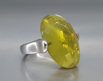 Big Citrine ring - bright like sunshine faceted - gift idea - all stone natural stone ring - statement ring - bright yellow gemstone jewelry