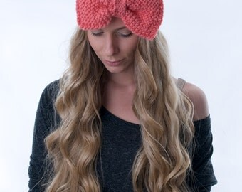 Knitted Bow Headband, Large Bow Headband, Cozy Ear Warmer, Girlie Fashion Accessories, Hair Accessory (CORAL CUTIE  KHB-5)