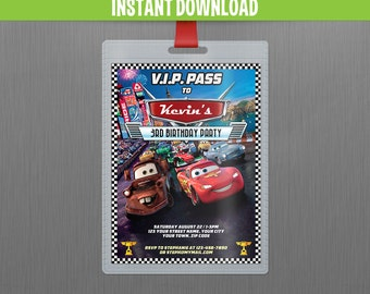 Disney Cars 2 Lightning McQueen and Mater VIP Pass Birthday Invitation - Instant Download and Edit with Adobe Reader
