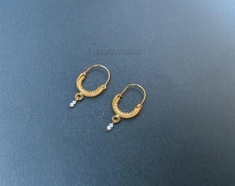 Dubrovnik Filigree Hoop Earrings, Bridal White Pearl Hoops, Solid Gold Hoop Earrings, 14k Gold Earrings, Croatian Gold Filigree Earrings