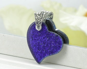 Fused Glass Pendant - Deep Indigo Dichroic Glass Heart - Heart Pendant - Pendant - Fused Glass Jewelry JBT318