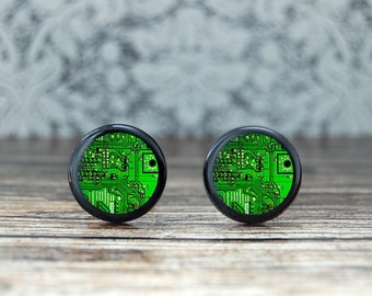 Computer cufflinks , geekery cufflinks, circuit board cufflinks , engineer gift , green circuit board . computer chip , groomsmen gift