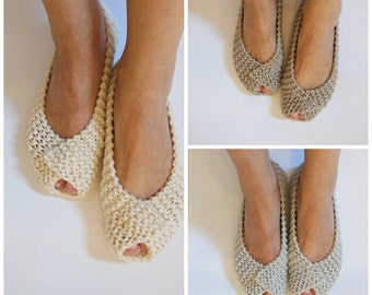 Off White Gray Beige COTTON Women's Slippers -NonSlip Footwear - Ballet flats - Handmade shoes - Knitted slippers - NenaKnit - Gift Wrapping