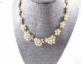 Vintage Floral Necklace Clusters of White Enamel Flowers w/ adjustable clasp