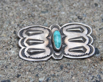 Early Navajo Butterfly Coin Silver Pin with Natural Turquoise