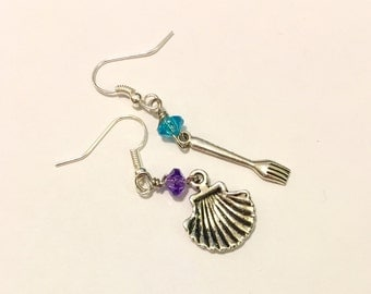 Little Mermaid Inspired Dinglehopper and Shell Earrings