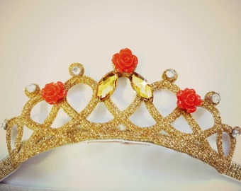 The Beauty And The Beast Princess Belle Rose Gold Tiara,Princess Belle Gold Tiara,Belle Headband,Belle Crown,Belle Tiara,Belle Costume