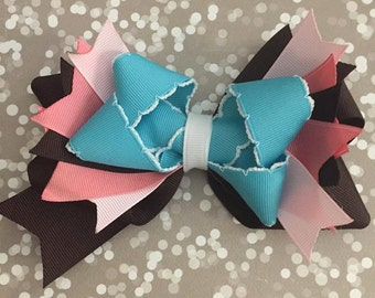 Boutique Hair Bow | Pink Hair Bow | Pink and Blue Hair Bow | Toddler Hair Bow | Large Hair Bow
