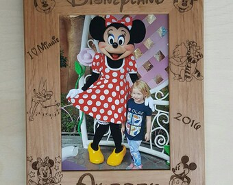 Picture Frame, Disneyland Mickey and Minnie Mouse, 5x7 Custom Laser Engraved Frame, Tinker bell, Tigger, Winnie the Pooh, Disney