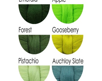 Merino Wool Fibre Tops - greens - 36 colours for felting and spinning