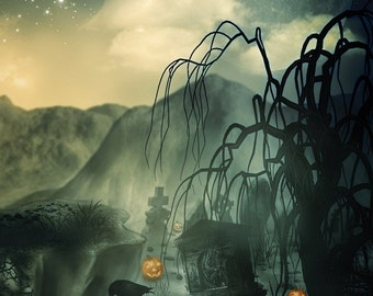 5x5 Haunted Graveyard Halloween Backdrop / Photography Background / Halloween Photo Booth Backdrop - Fab Vinyl 5x5 ft (FV9076)