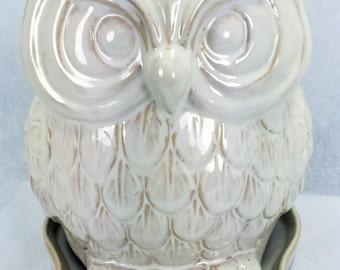 "Glazed Ceramic Owl Pot/Saucer - Antique White - 8 3/4"" x 7"" x 8 1/4"" + Felt Feet"