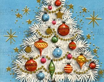 Retro Ornament Filled Christmas Tree Card #462 Digital Download