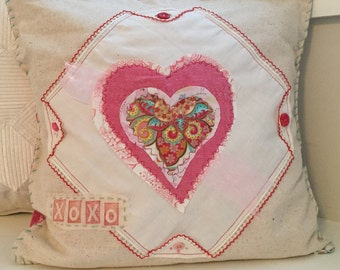 Heart Pillow -  Valentine,XOXO, Sweetheart, Love, Heart Decor, Sweetheart, Mother's Day,  Handmade by Renee Brennan