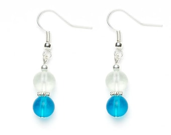 Blue Beaded Earrings | Glass Beaded Earrings | Beaded Jewellery