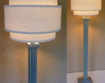 "Retro modern wood floor lamp in ""Dolphin"" gray with seafoam green trim without shade. Includes LED bulb, free shipping to lower 48 states"