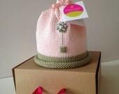 Newborn Baby Hat Pink Sage Green