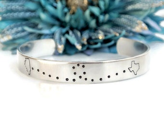 Long Distance Relationship Hand Stamped Bracelet Cuff | Aluminum Bracelet | Long Distance Girlfriend Gift | Long Distance Best Friend Gift